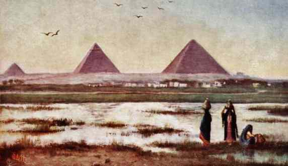 Three pyramids in the evening.